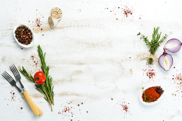 Fotomurales - Cooking banner. Background with spices and vegetables. Top view. Free space for your text.