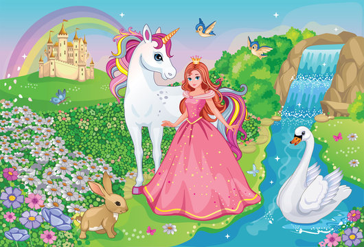 Beautiful Princess with white unicorn and Swan. Fairytale background with flower meadow, castle, rainbow, lake. Wonderland. Magical landscape. Children's cartoon illustration. Romantic story. Vector.