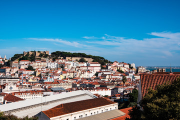 Panoramic view of Lisbon and Saint George's Castle from Baixa district (Lisbon, Portugal)