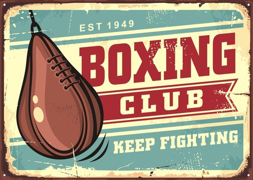 Boxing speed ball on old tin sign background, retro advertising for boxing club. Leather pear shape punching bag vintage signboard. Fighting sports vector illustration.