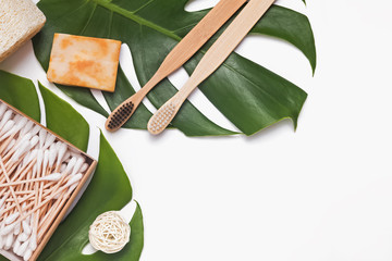 Zero waste, natural body care products lying on monstera leaves