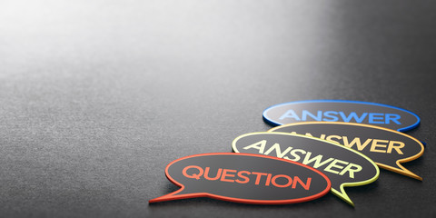 Wall Mural - Questions And Answers. Discussion Forum Or FAQ Banner