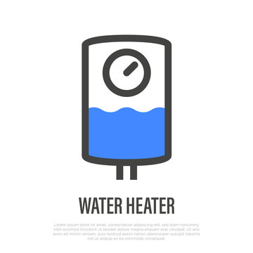 Water heater thin line icon. Thermal boiler for home. Vector illustration.