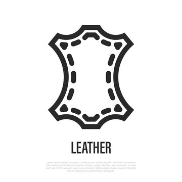Leather symbol. Thin line icon. Vector illustration of fabric feature.