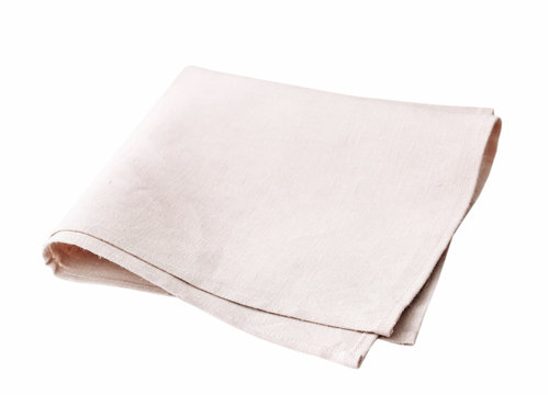 Litchen cloth folded isolated on white.