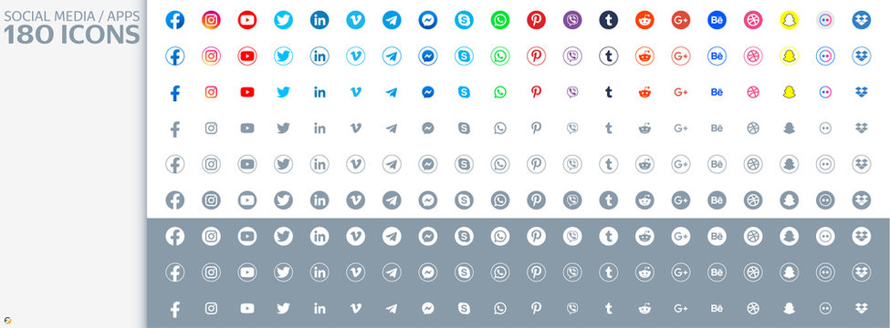 Large collection 180 pc. Social media icons in a light style. Facebook, instagram, twitter, youtube, pinterest, behance, google, skype, viber, whatsap,  telegram, wechat and other.