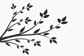 Young flowering tree. Sapling. Silhouette of a branch with leaves.  Fototapete