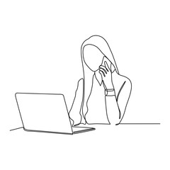 continuous line drawing of business woman with laptop and mobile phone