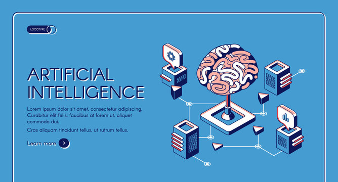 Artificial intelligence isometric landing page human brain surrounded with cubic shape AI processor chips with digital neurons network. Future innovation 3d vector illustration, line art web banner