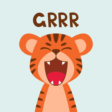 Flat cute tiger open mouth roar. Trendy Scandinavian style. Cartoon animal character vector illustration isolated on background. Print for kids apparel, nursery decoration, poster, funny avatars.