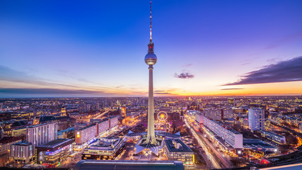 Wall Murals Berlin panoramic view at central berlin whil sunset