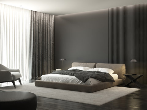 Contemporary grey masculine bedroom with armchair