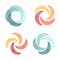 Set of spiral and swirl logo abstract logo, twisting shape, swirl of lines, round unusual logo. Vector icons set.