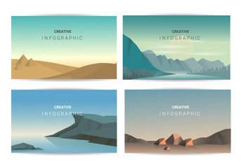 Poster Blauw Abstract landscape set, Vector banners set with polygonal landscape illustration, Minimalist style.