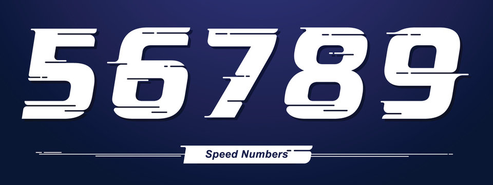 Numbers Speed style in a set 56789