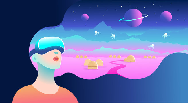 Woman wearing virtual reality goggles and seeing the cosmic landscape, Vector illustration