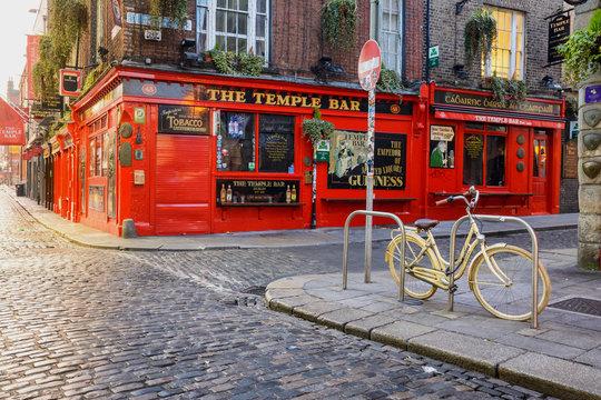 dublin, ireland. 5th may, 2019: views of empty pub street in dublin