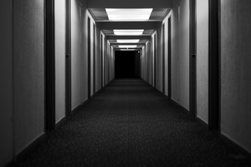 Fototapeta hotel corridor hallway abandoned creepy black and white