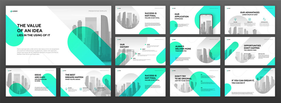 Powerpoint presentation templates set for business and real estate. Use for keynote presentation, brochure design, website slider, landing page, annual report, company profile, social media banner.
