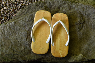 A pair of Japanese sandals.