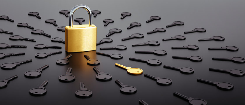 Lock surrounded by black and one golden key - Security concept