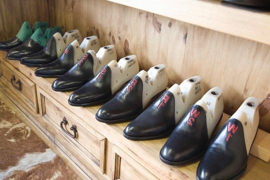 Footwear In Row At Shoemaker Workshop