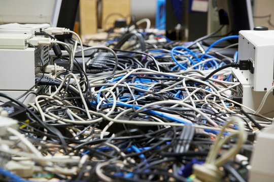Closeup Of Tangled Computer Wires