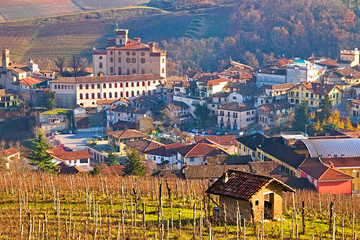 Winter view of the village of Barolo, the most famous town of the Langhe region, Piedmont, Italy, for the production of several fine wines