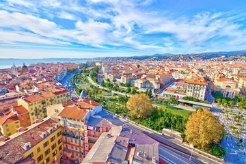 Ingelijste posters Nice Colorful aerial panoramic view over the old town of Nice, France, with the famous Massena square and the Promenade du Paillon, from the roof of Saint Francis tower