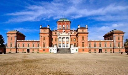 Racconigi, Italy - December 02, 2019: The Royal Castle of Racconigi is an ancient palace that was the official residence of the Carignano line of the House of Savoy