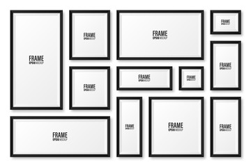 Realistic blank black picture frame with shadow collection isolated on white background. Modern poster mockup. Empty photo frame for art gallery or interior. Vector illustration. Papier Peint