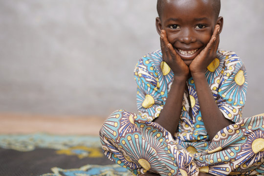 Handsome little cute African Boy Smiling and Laughing Close up
