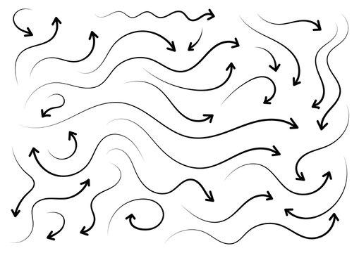 hand drawing arrow signs set. wavy arrow signs. vector arrow signs
