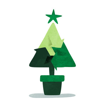Green christmas pine tree recycle symbol concept