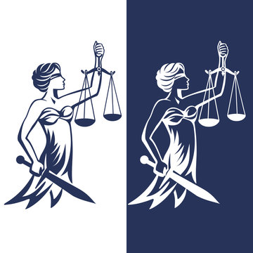Lady justice, Themis with sword and scales. Fair trial Law. Femida. Blindfolded lady. Vector illustration.