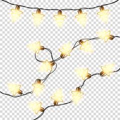 Wall Mural - Lights bulbs glowing golden Christmas garlands, isolated.