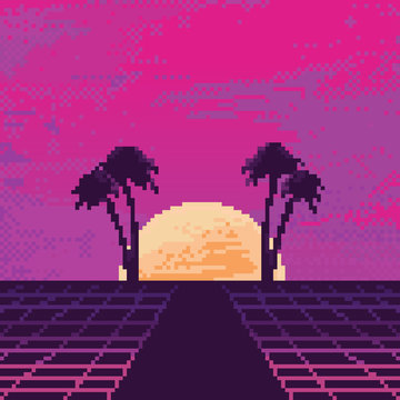 Vector pixel art of 80s Retro sci-Fi background. Synthwave, Vaporwave, Retrowave. Pixel art background. 8bit