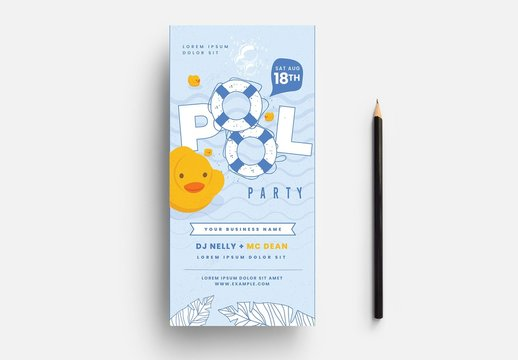 Pool Party Card Layout with Rubber Ducky Illustration