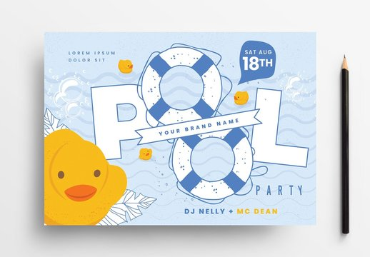 Pool Party Flyer Layout with Rubber Ducky Illustration