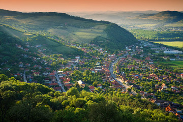 Aerial view of a transylvanian village, Romania, Europe