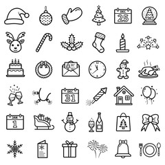 New Year and Christmas line icons set