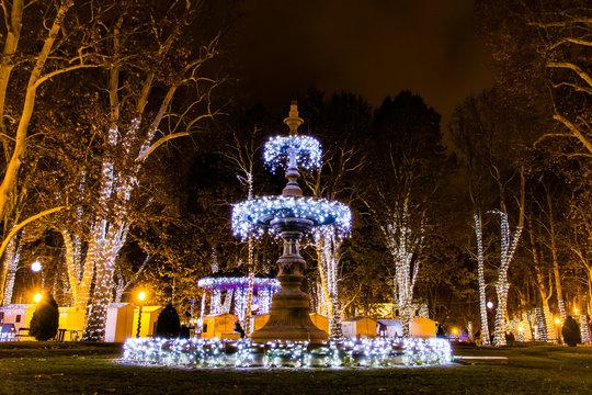 Zagreb, Croatia: 14th December 2018 / Decorated water fountain Zrinjevac park, Zagreb Advent Best Christmas market in Europe