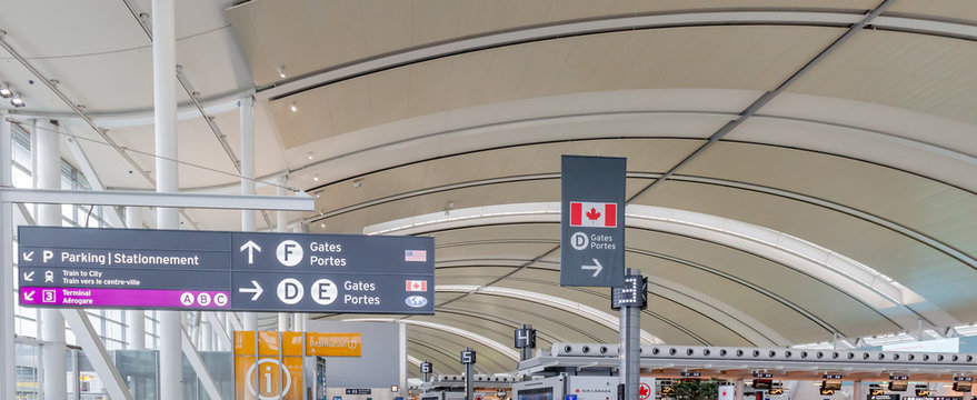 Toronto, Canada- March 28, 2018: Interior view of Toronto Pearson Airport in Toronto, Canada. Pearson is the largest and busiest airport in Canada.