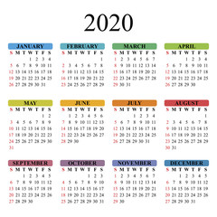Vector calendar for 2020 year on white background. EPS10.