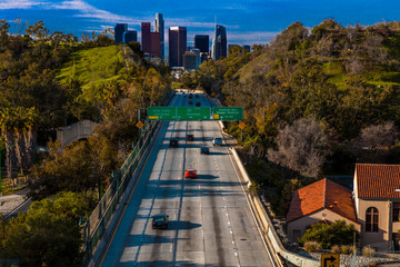 Wall Mural - JANUARY 20, 2019, LOS ANGELES, CA, USA - Pasadena Freeway  (Arroyo Seco Parkway) CA 110 leads to downtown Los Angeles in morning light