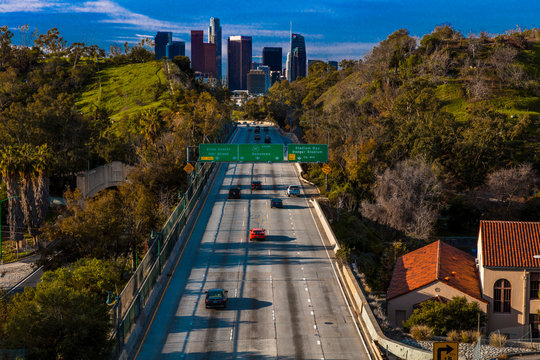 JANUARY 20, 2019, LOS ANGELES, CA, USA - Pasadena Freeway  (Arroyo Seco Parkway) CA 110 leads to downtown Los Angeles in morning light