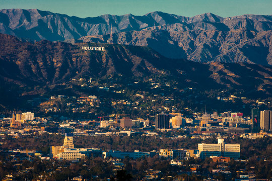 JAN 1, 2019 - Los Angeles, CA USA - Los Angeles with Hollywood Sign at sunset seen from Kenneth Hahn Park, LA, CA