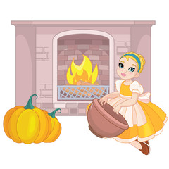 Cute little Cinderella with fireplace