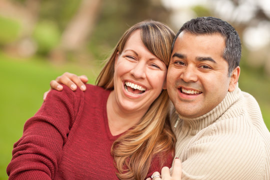 Attractive Mixed Race Couple Portrait in the Park