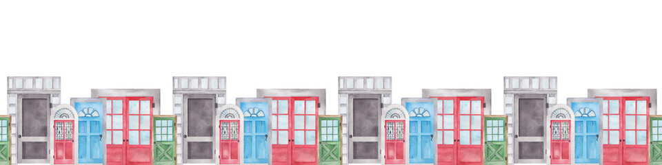 Hand drawn illustration of colorful doors with windows on white background, seamless banner that can be tiled horizontally. Watercolor doors set painting.
